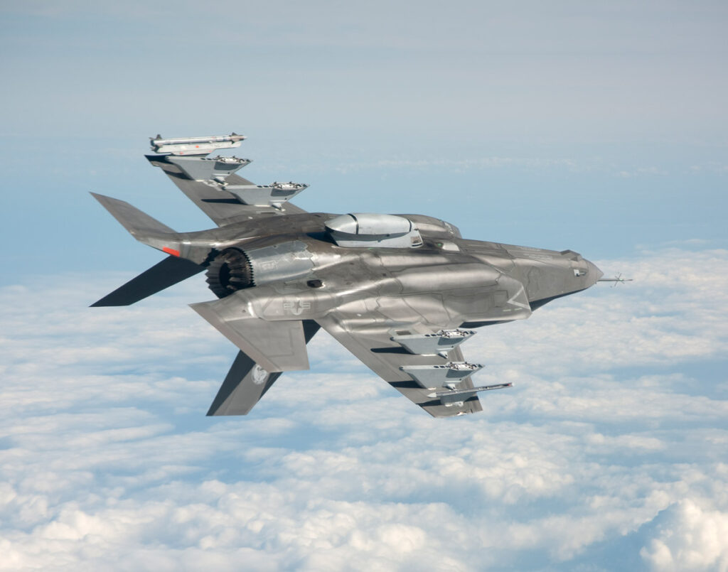 F-35B with asymmetric weapons load