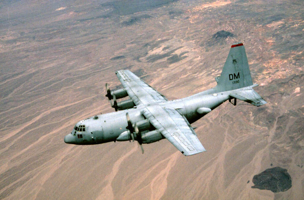 EC-130 Compass Call electronic warfare aircraft, used for an experimental cyber attack