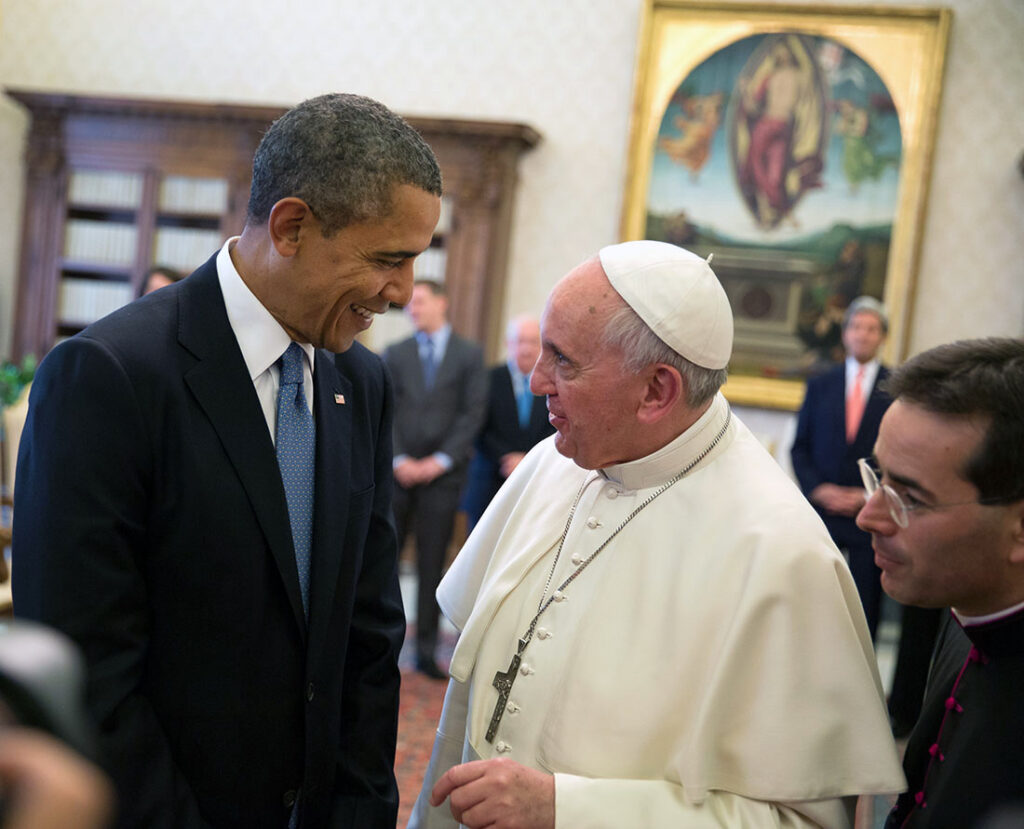 President Barack Obama talks with Pope Francis following his private audience at the Vatican, March 27, 2014. (Official White House Photo by Pete Souza)