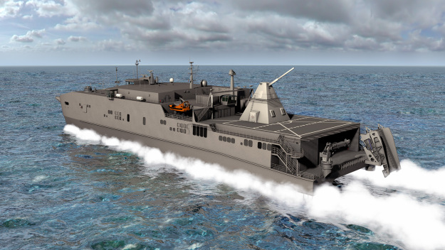 140313-N-ZZ999-101 WASHINGTON (March 13, 2014) An artist rendering shows the Office of Naval Research-funded electromagnetic railgun installed aboard the joint high-speed vessel USNS Millinocket (JHSV 3). The railgun is a long-range weapon that launches projectiles using electricity instead of chemical propellants and is currently undergoing testing at Naval Sea Systems Command, Dahlgren Division. (U.S. Navy photo illustration/Released)