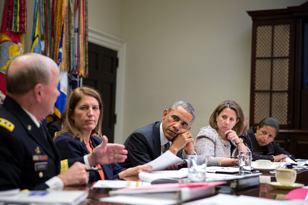 """President Barack Obama meets with members of his national security team and senior staff to receive an update on the Ebola outbreak in West Africa and the Administration's response efforts, in the Roosevelt Room of the White House, Oct. 6, 2014. Participants include: Health and Human Services Secretary Sylvia Mathews Burwell; Dr. Tom Frieden, Director of the U.S. Centers for Disease Control and Prevention (CDC); Gen. Martin Dempsey, Chairman of the Joint Chiefs of Staff; Rajiv """"Raj"""" Shah, Administrator of the U.S. Agency for International Development USAID;Samantha Power, U.S. Permanent Representative to the United Nations; and Lisa Monaco, Assistant to the President for Homeland Security and Counterterrorism.  (Official White House Photo by Pete Souza)"""