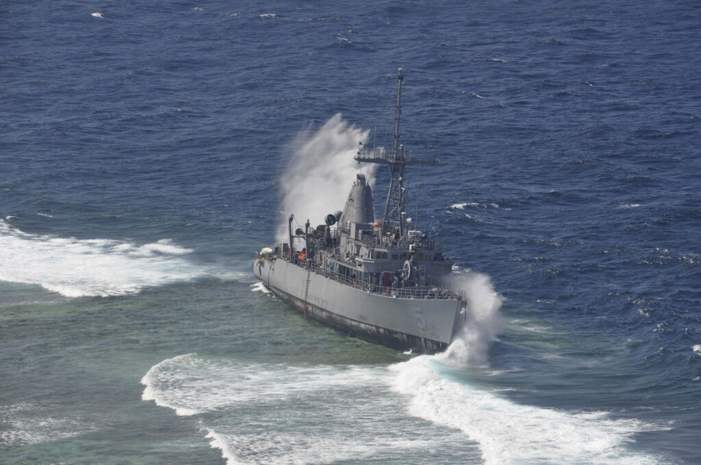 The Avenger-class minesweeper USS Guardian ran aground in 2013.