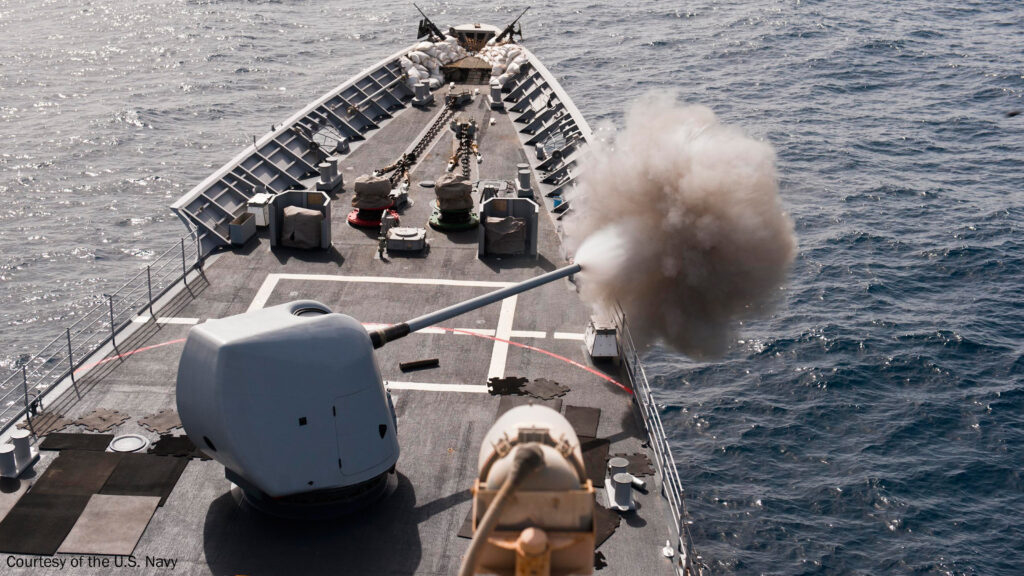 Navy Mark 45 5-inch cannon firing