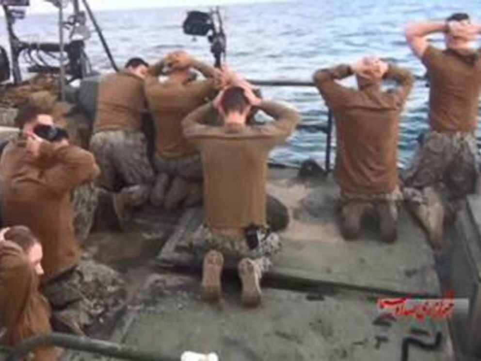Sailors kneeling after Iran seizure