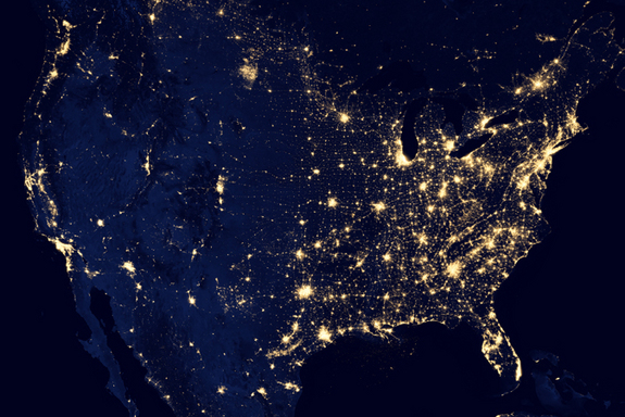 US power output satellite view